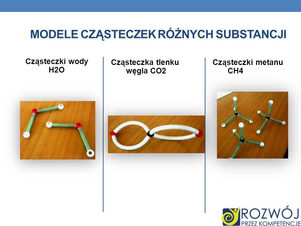 Cząsteczki wody H2O Cząsteczka tlenku węgla CO2 Cząsteczki metanu CH4 MODELE CZĄSTECZEK RÓŻNYCH SUBSTANCJI