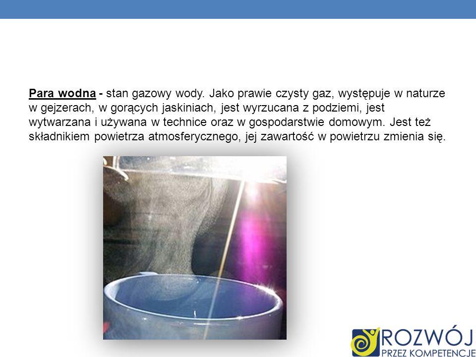 Para wodna - stan gazowy wody. Jako prawie czysty gaz, występuje w naturze w gejzerach, w gorących jaskiniach, jest wyrzucana z podziemi, jest wytwarz