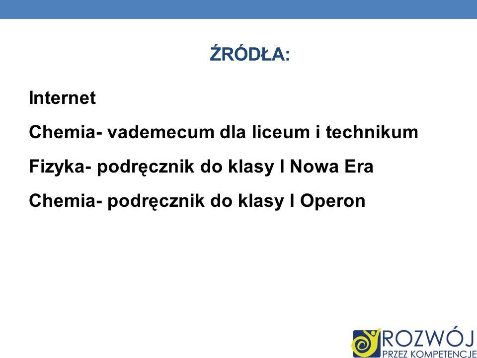 ŹRÓDŁA: Internet Chemia- vademecum dla liceum i technikum Fizyka- podręcznik do klasy I Nowa Era Chemia- podręcznik do klasy I Operon