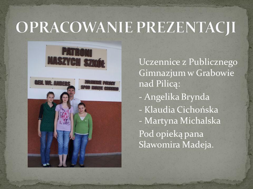 Uczennice z Publicznego Gimnazjum w Grabowie nad Pilicą: - Angelika Brynda - Klaudia Cichońska - Martyna Michalska Pod opieką pana Sławomira Madeja.