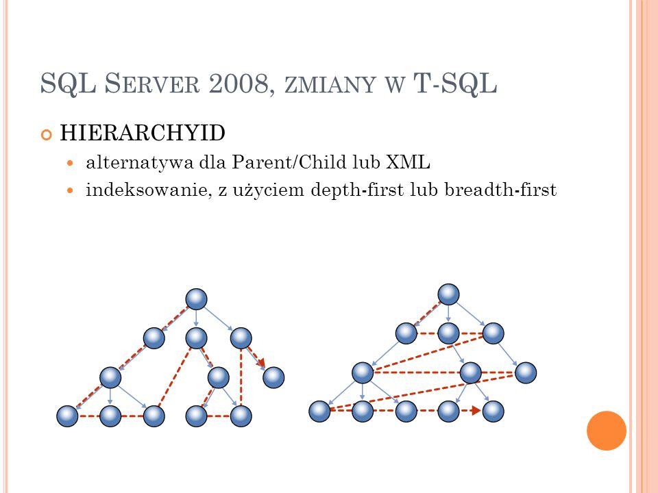 SQL S ERVER 2008, ZMIANY W T-SQL HIERARCHYID alternatywa dla Parent/Child lub XML indeksowanie, z użyciem depth-first lub breadth-first
