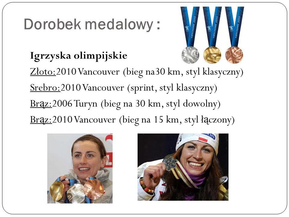 Dorobek medalowy : Igrzyska olimpijskie Złoto:2010 Vancouver (bieg na30 km, styl klasyczny) Srebro:2010 Vancouver (sprint, styl klasyczny) Br ą z:2006