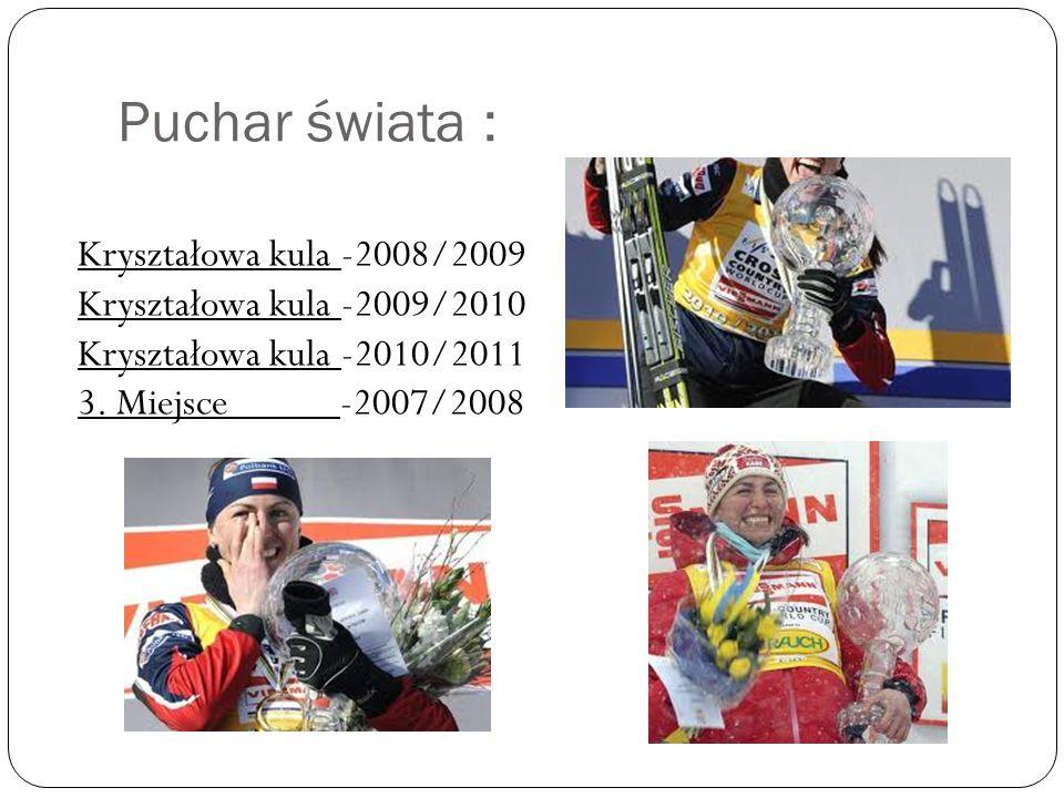Puchar świata : Kryształowa kula -2008/2009 Kryształowa kula -2009/2010 Kryształowa kula -2010/2011 3. Miejsce -2007/2008