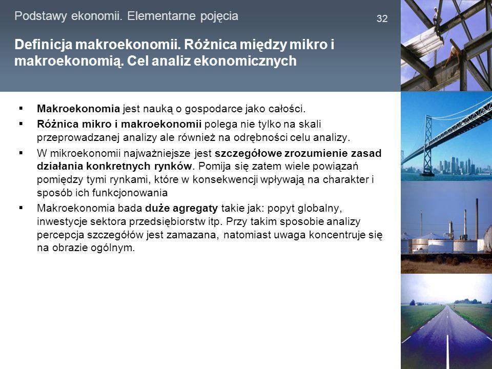 Podstawy ekonomii.Elementarne pojęcia 32 Definicja makroekonomii.