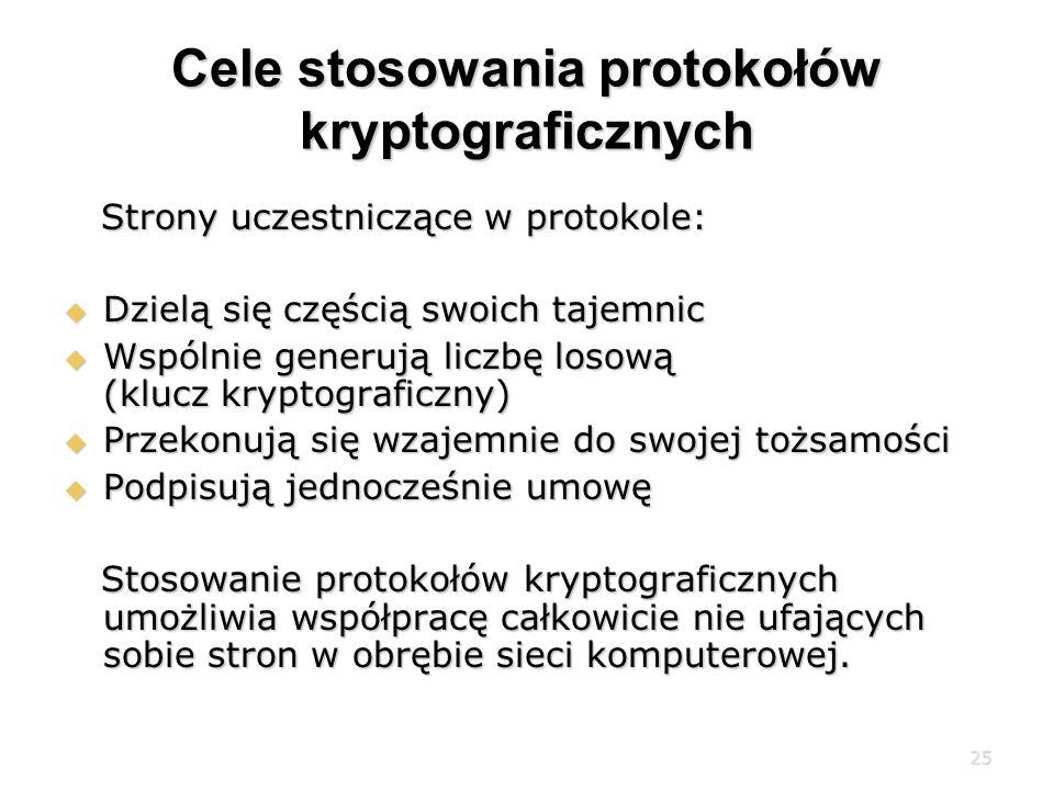 25 Cele stosowania protokołów kryptograficznych Strony uczestniczące w protokole: Strony uczestniczące w protokole: Dzielą się częścią swoich tajemnic Dzielą się częścią swoich tajemnic Wspólnie generują liczbę losową (klucz kryptograficzny) Wspólnie generują liczbę losową (klucz kryptograficzny) Przekonują się wzajemnie do swojej tożsamości Przekonują się wzajemnie do swojej tożsamości Podpisują jednocześnie umowę Podpisują jednocześnie umowę Stosowanie protokołów kryptograficznych umożliwia współpracę całkowicie nie ufających sobie stron w obrębie sieci komputerowej.