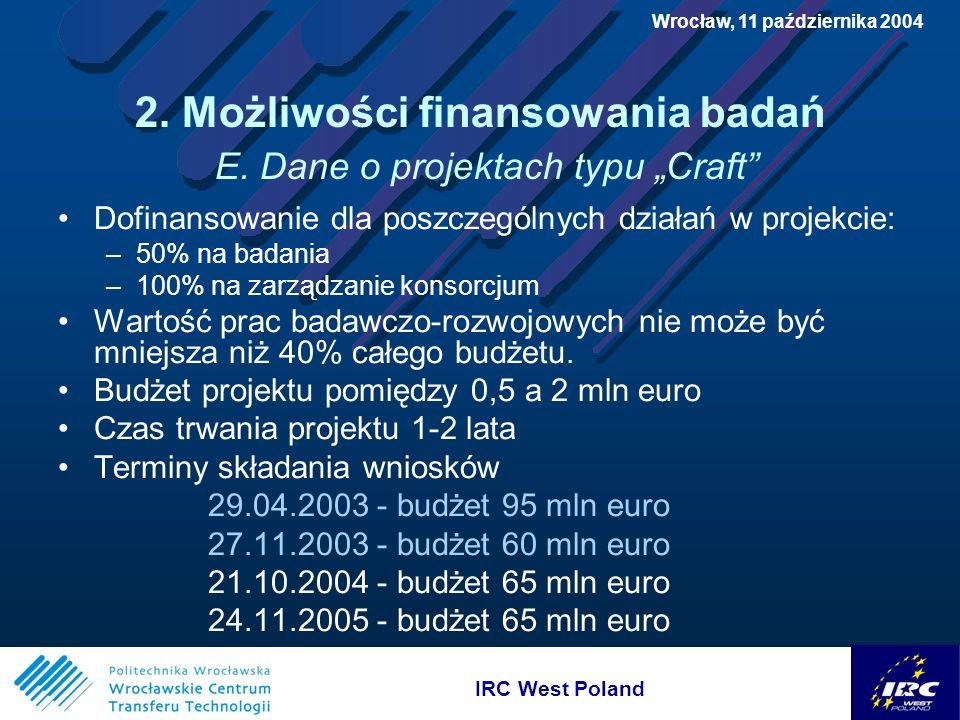 IRC West Poland Wrocław, 11 października 2004 2. Możliwości finansowania badań E.