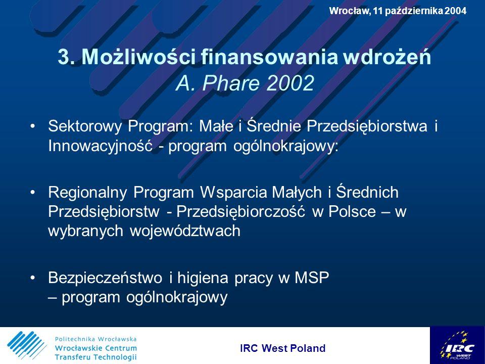 IRC West Poland Wrocław, 11 października 2004 3. Możliwości finansowania wdrożeń A.