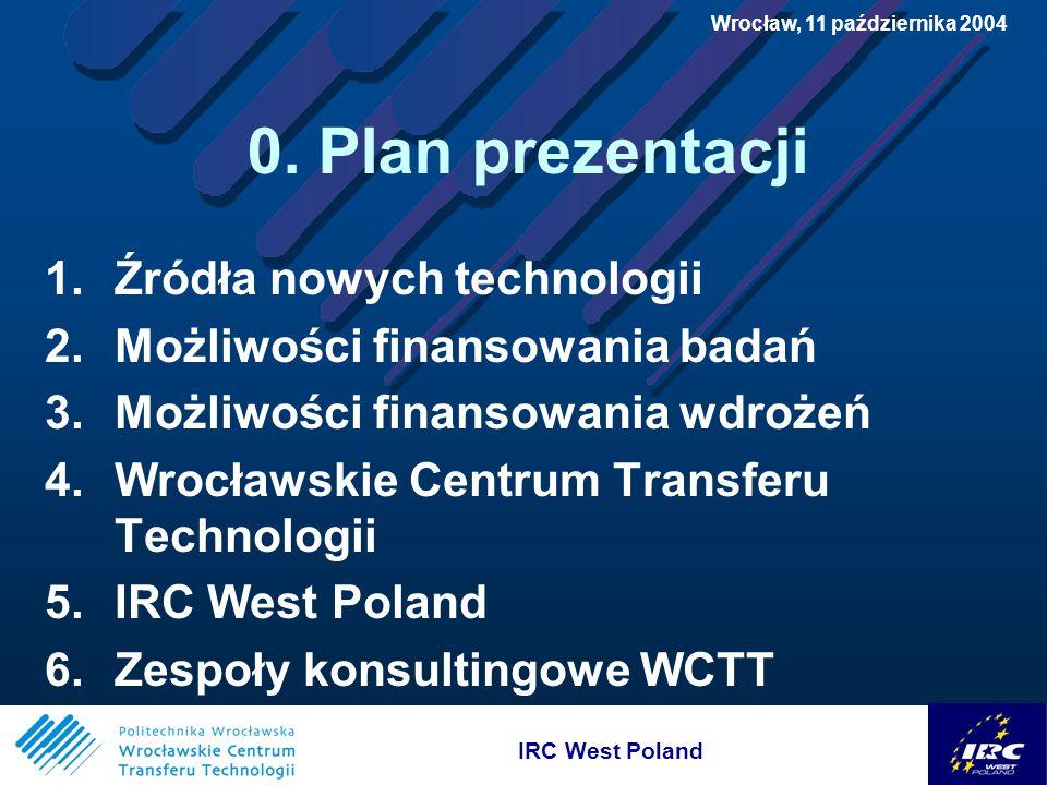 IRC West Poland Wrocław, 11 października 2004 3.Możliwości finansowania wdrożeń J.