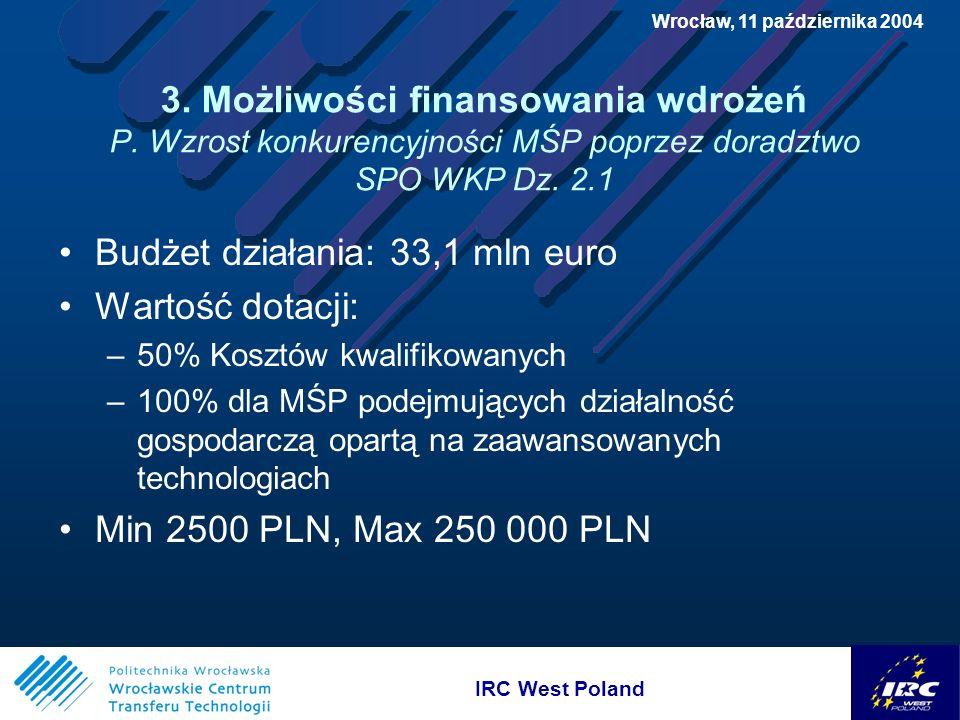 IRC West Poland Wrocław, 11 października 2004 3. Możliwości finansowania wdrożeń P.