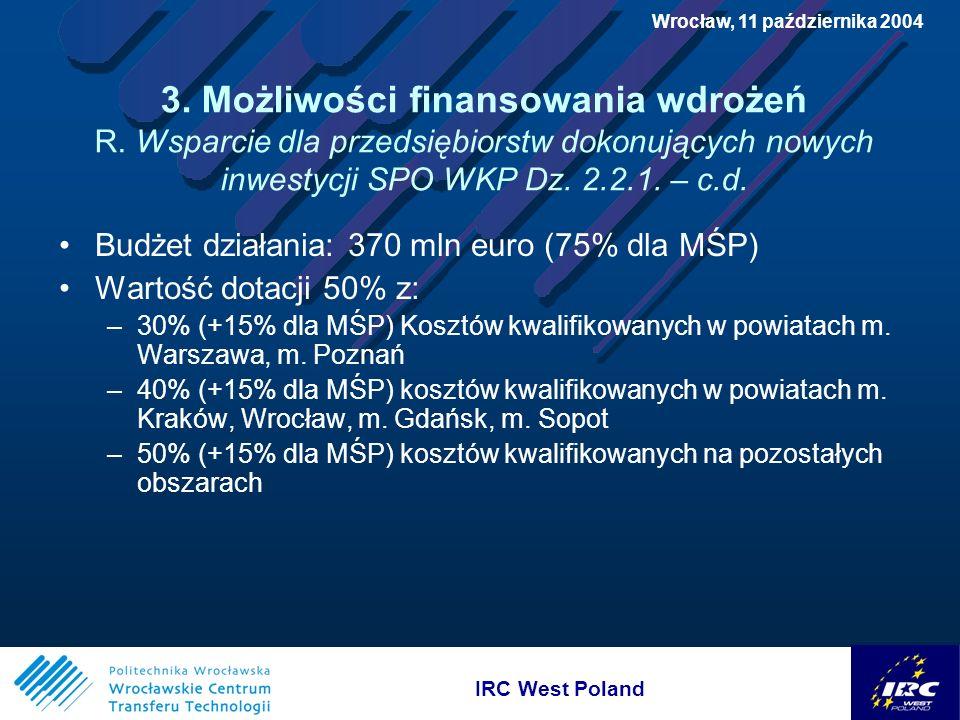 IRC West Poland Wrocław, 11 października 2004 3. Możliwości finansowania wdrożeń R.