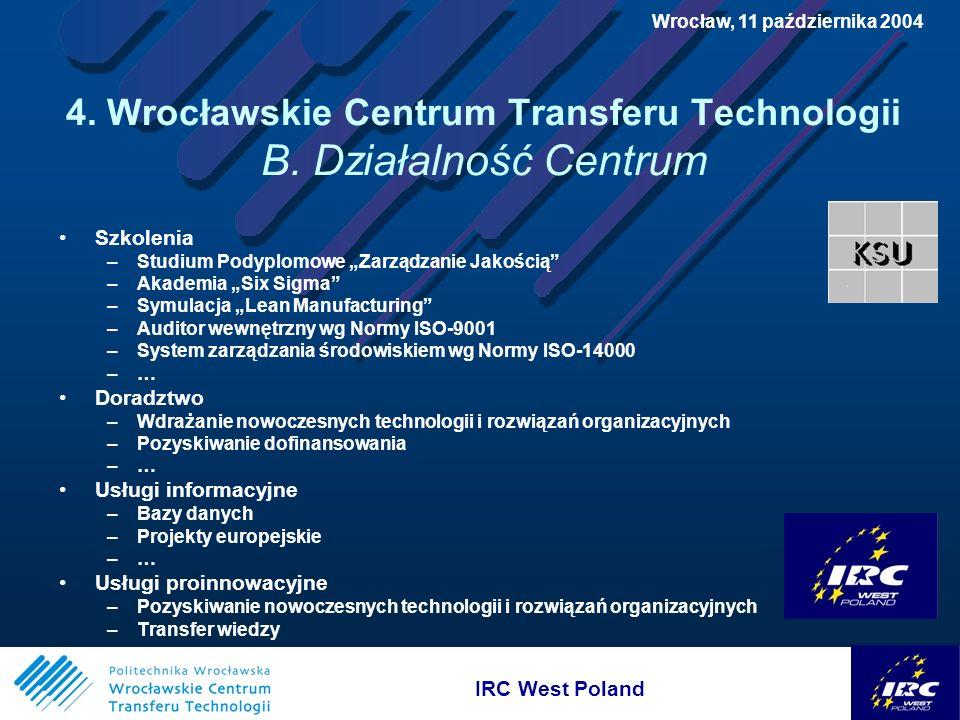 IRC West Poland Wrocław, 11 października 2004 4. Wrocławskie Centrum Transferu Technologii B.