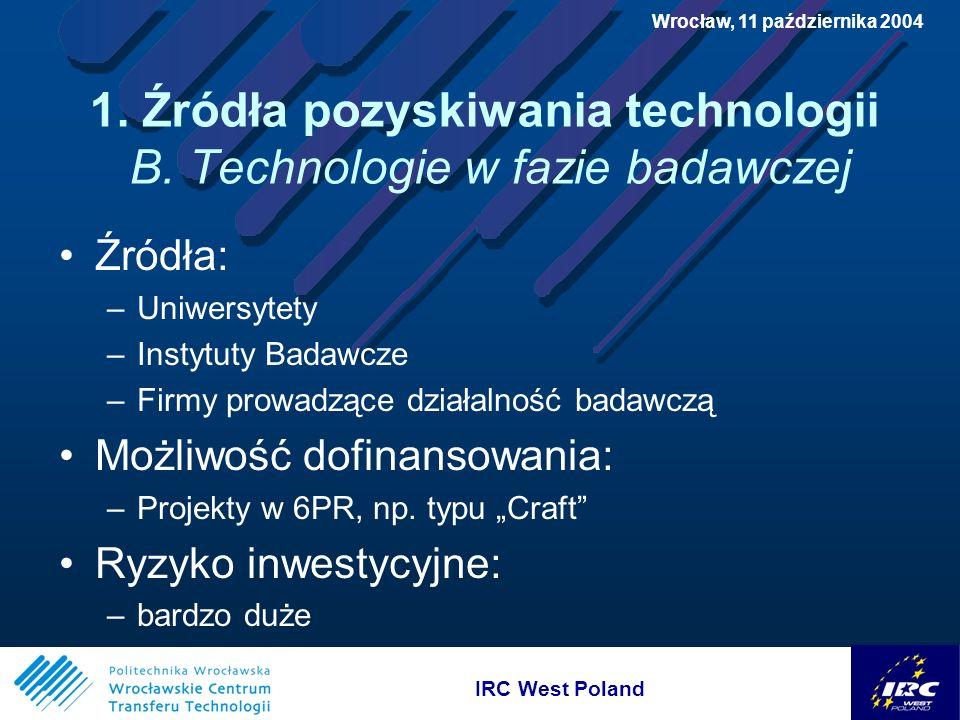 IRC West Poland Wrocław, 11 października 2004 3.Możliwości finansowania wdrożeń B.
