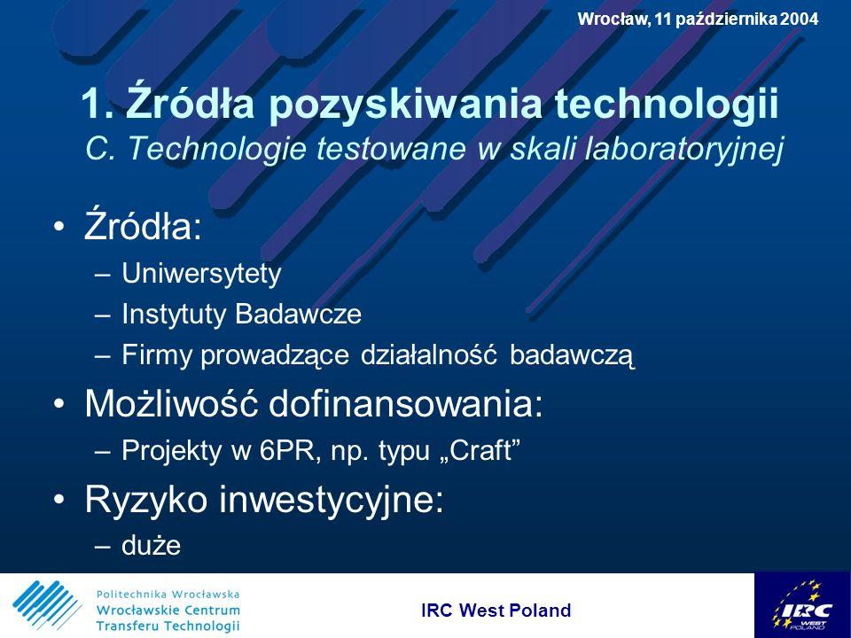 IRC West Poland Wrocław, 11 października 2004 3.Możliwości finansowania wdrożeń C.