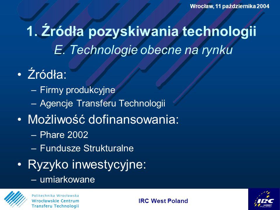 IRC West Poland Wrocław, 11 października 2004 3.Możliwości finansowania wdrożeń E.