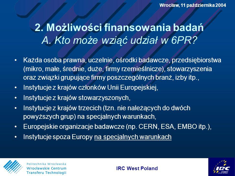 IRC West Poland Wrocław, 11 października 2004 2.Możliwości finansowania badań B.