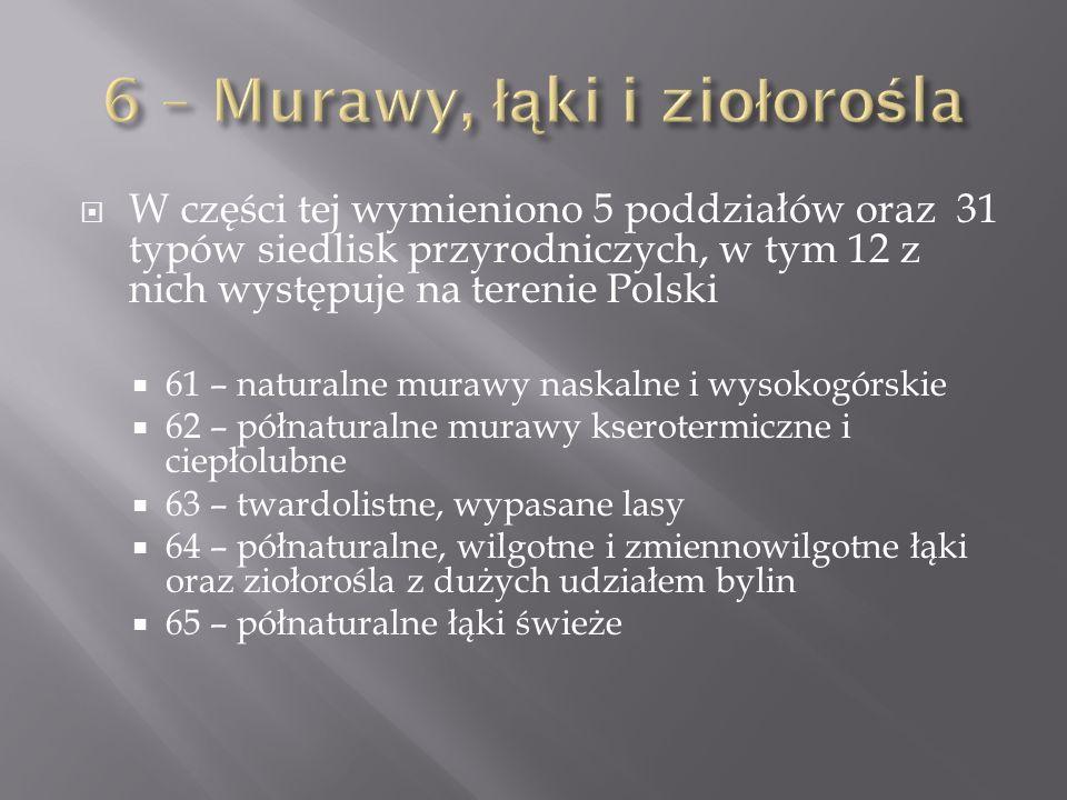 W części tej wymieniono 5 poddziałów oraz 31 typów siedlisk przyrodniczych, w tym 12 z nich występuje na terenie Polski 61 – naturalne murawy naskalne