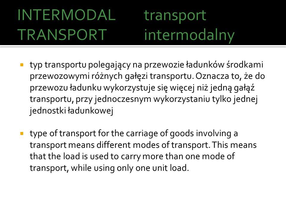 typ transportu polegający na przewozie ładunków środkami przewozowymi różnych gałęzi transportu. Oznacza to, że do przewozu ładunku wykorzystuje się w