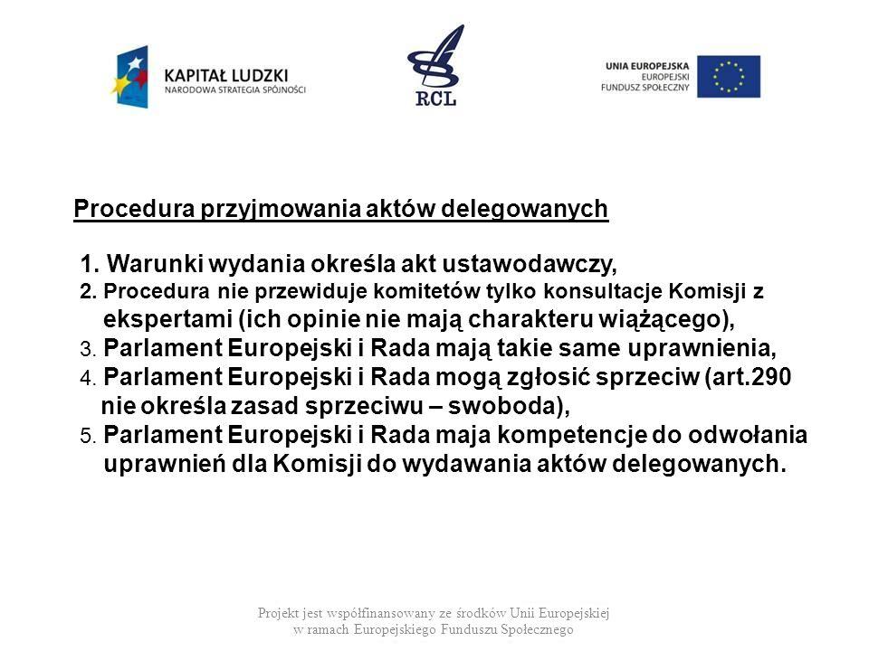Projekt jest współfinansowany ze środków Unii Europejskiej w ramach Europejskiego Funduszu Społecznego Procedura przyjmowania aktów delegowanych 1.