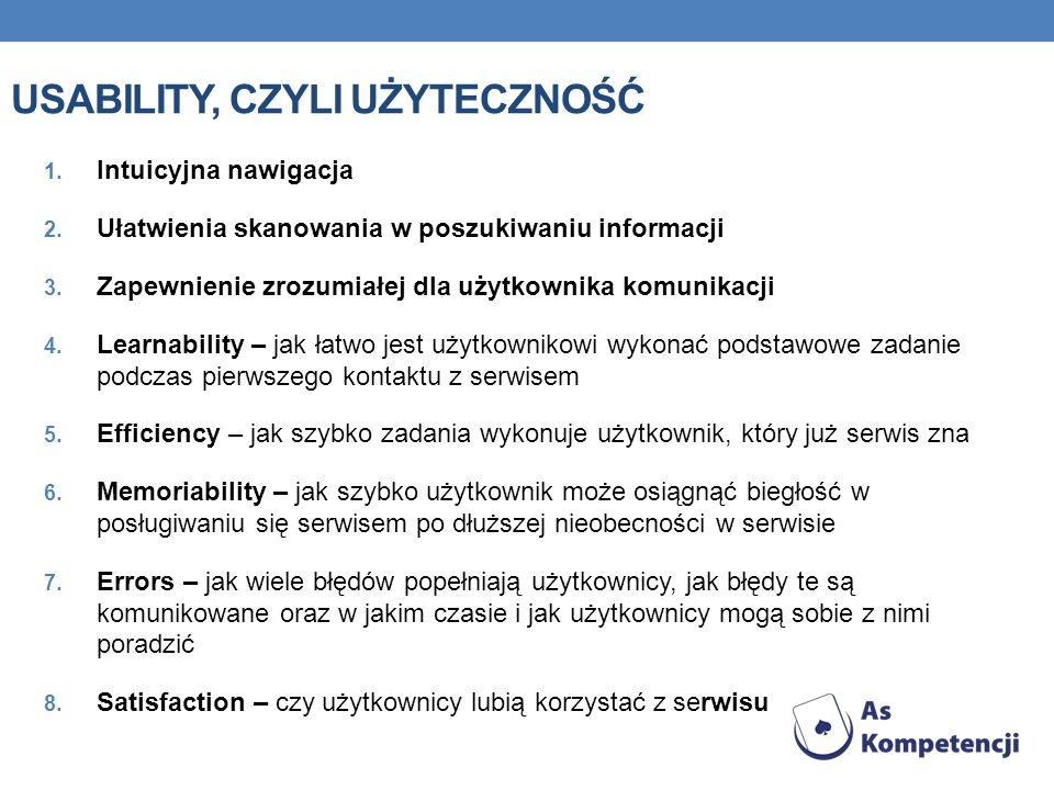 1.Intuicyjna nawigacja 2. Ułatwienia skanowania w poszukiwaniu informacji 3.