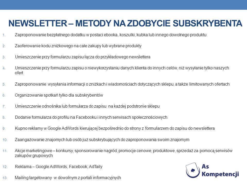 NEWSLETTER – METODY NA ZDOBYCIE SUBSKRYBENTA 1.