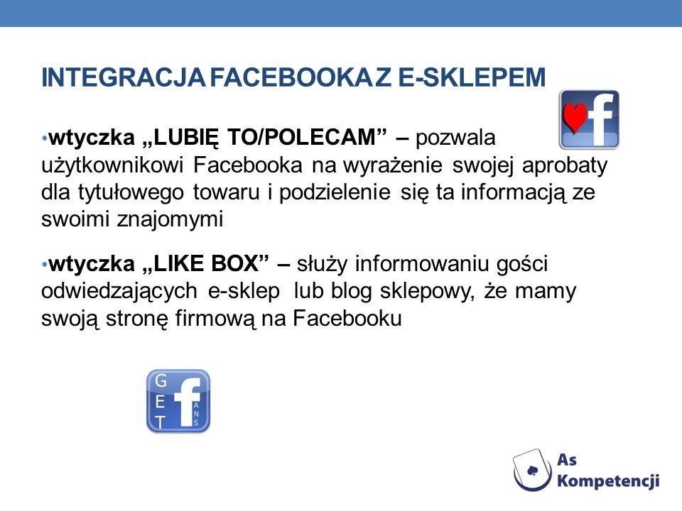INTEGRACJA FACEBOOKA Z E-SKLEPEM wtyczka LUBIĘ TO/POLECAM – pozwala użytkownikowi Facebooka na wyrażenie swojej aprobaty dla tytułowego towaru i podzielenie się ta informacją ze swoimi znajomymi wtyczka LIKE BOX – służy informowaniu gości odwiedzających e-sklep lub blog sklepowy, że mamy swoją stronę firmową na Facebooku