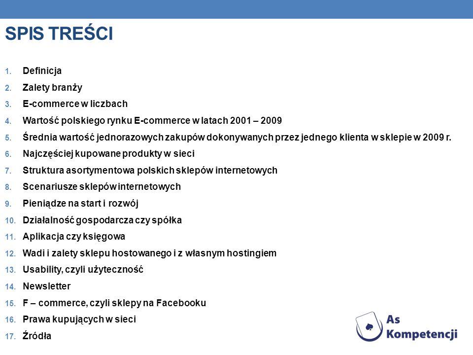 SPIS TREŚCI 1.Definicja 2. Zalety branży 3. E-commerce w liczbach 4.