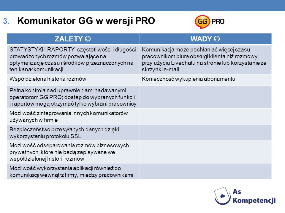 3. Komunikator GG w wersji PRO ZALETY WADY STATYSTYKI I RAPORTY częstotliwości i długości prowadzonych rozmów pozwalające na optymalizację czasu i śro