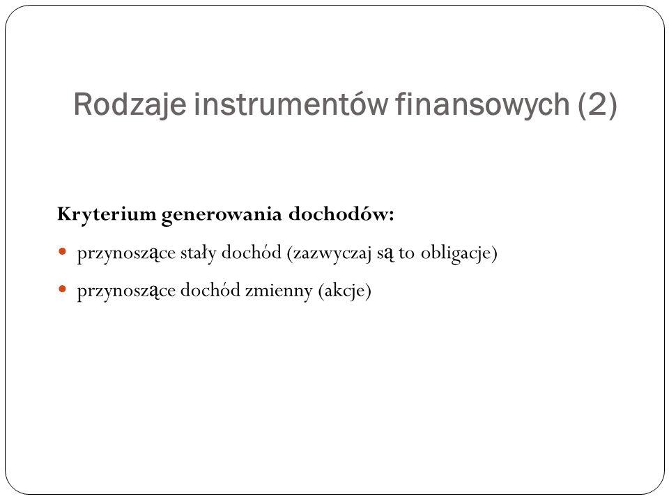 Rodzaje instrumentów finansowych (2) Kryterium generowania dochodów: przynosz ą ce stały dochód (zazwyczaj s ą to obligacje) przynosz ą ce dochód zmie