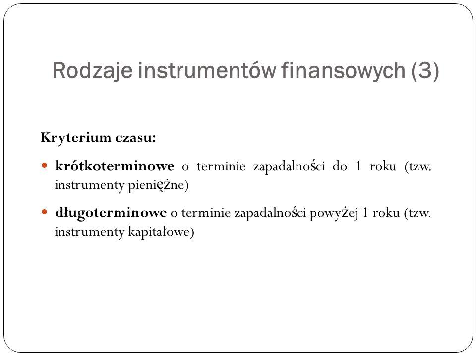 Rodzaje instrumentów finansowych (3) Kryterium czasu: krótkoterminowe o terminie zapadalno ś ci do 1 roku (tzw. instrumenty pieni ęż ne) długoterminow