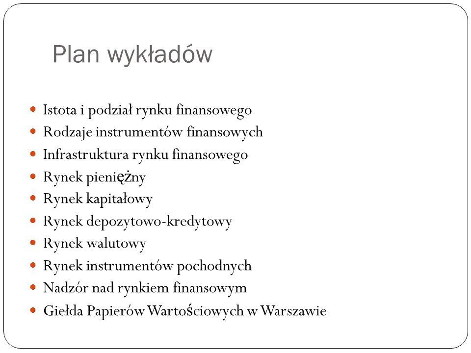 Plan wykładów Istota i podział rynku finansowego Rodzaje instrumentów finansowych Infrastruktura rynku finansowego Rynek pieni ęż ny Rynek kapitałowy