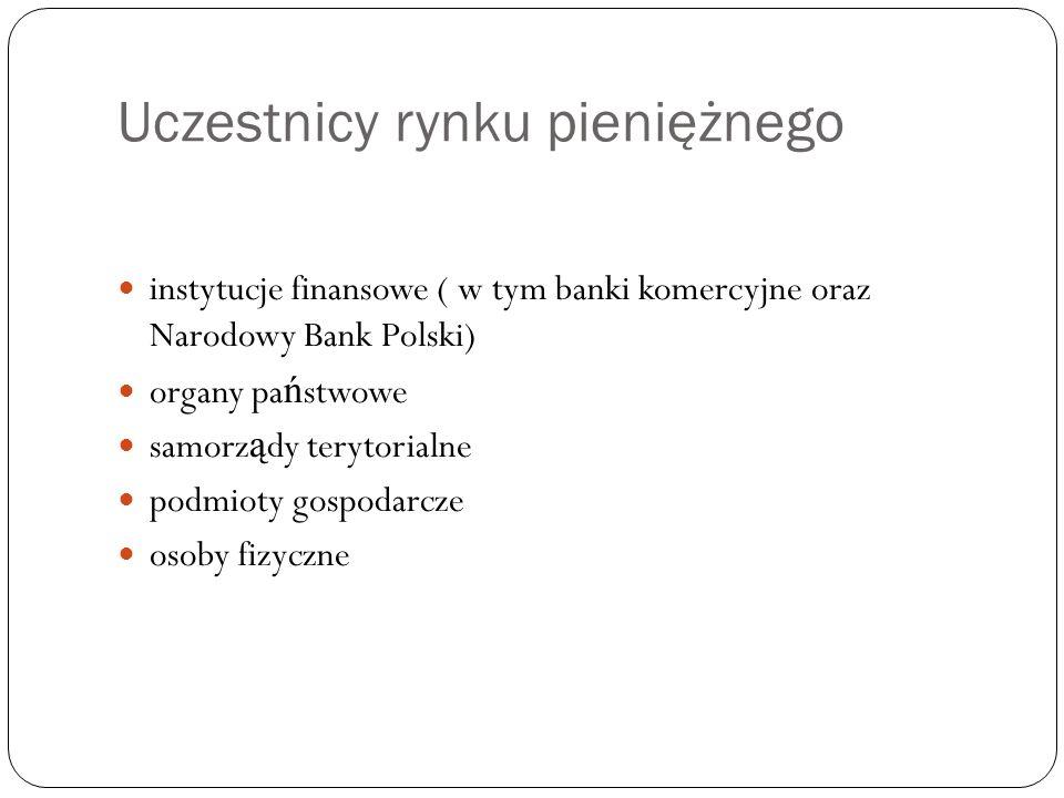 Uczestnicy rynku pieniężnego instytucje finansowe ( w tym banki komercyjne oraz Narodowy Bank Polski) organy pa ń stwowe samorz ą dy terytorialne podm