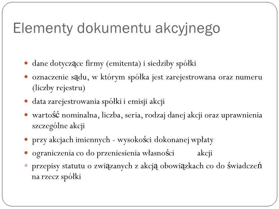 Elementy dokumentu akcyjnego dane dotycz ą ce firmy (emitenta) i siedziby spółki oznaczenie s ą du, w którym spółka jest zarejestrowana oraz numeru (l