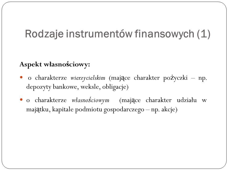 Rodzaje instrumentów finansowych (1) Aspekt własno ś ciowy: o charakterze wierzycielskim (maj ą ce charakter po ż yczki – np. depozyty bankowe, weksle