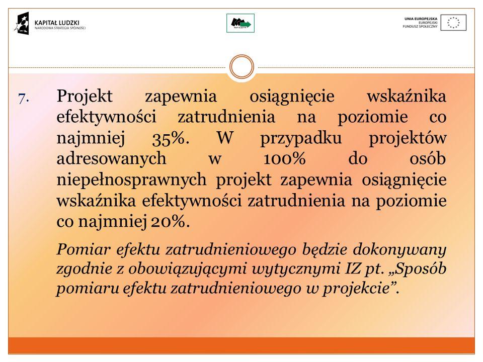 7. Projekt zapewnia osiągnięcie wskaźnika efektywności zatrudnienia na poziomie co najmniej 35%.