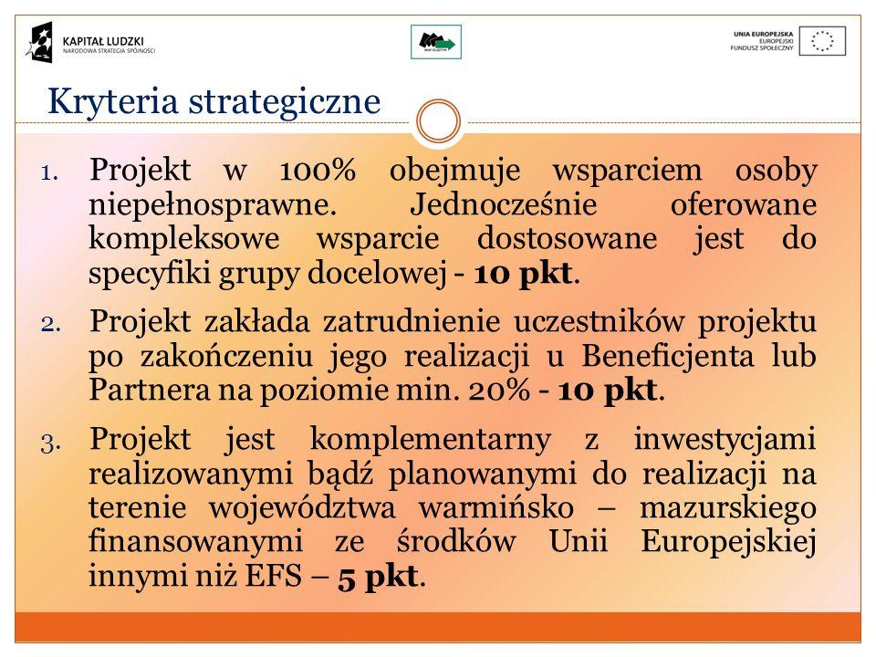 Kryteria strategiczne 1. Projekt w 100% obejmuje wsparciem osoby niepełnosprawne.