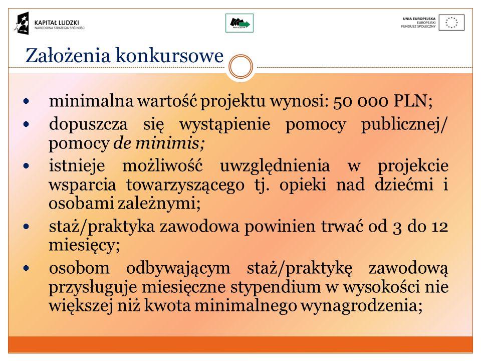 Założenia konkursowe minimalna wartość projektu wynosi: 50 000 PLN; dopuszcza się wystąpienie pomocy publicznej/ pomocy de minimis; istnieje możliwość uwzględnienia w projekcie wsparcia towarzyszącego tj.