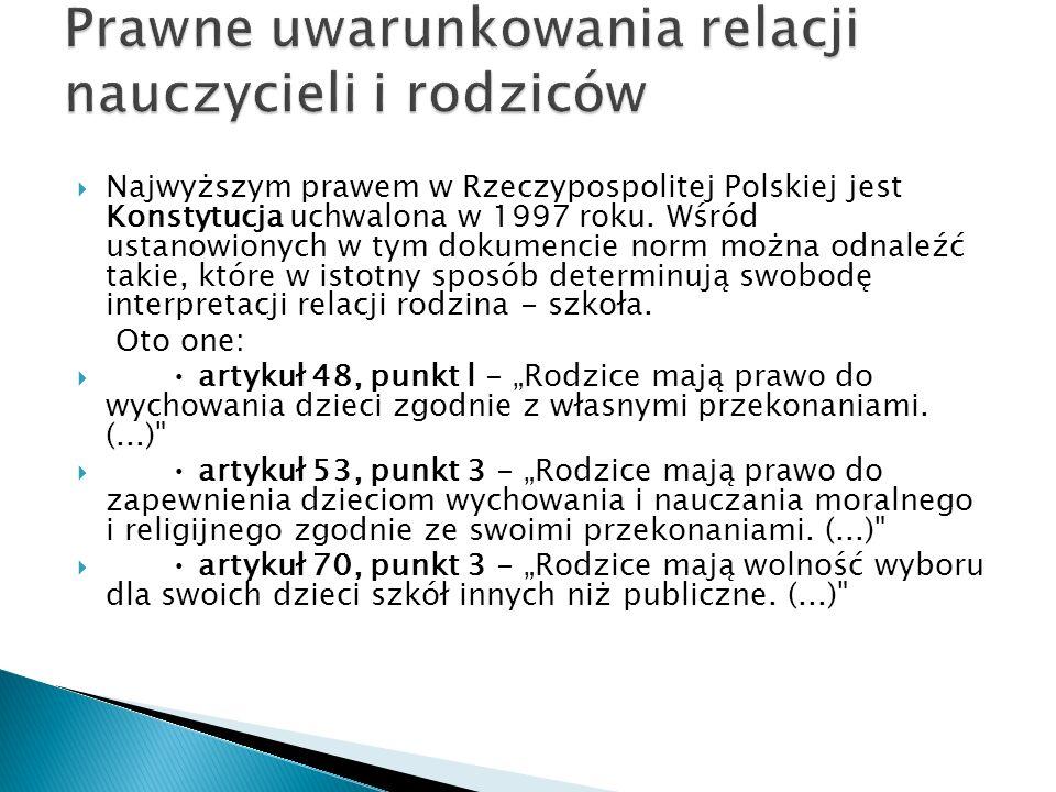 Prawo rodziców do oddziaływania na to, co w szkole dzieje się z ich dziećmi gwarantują (już od wielu lat) ratyfikowane przez Polskę międzynarodowe dokumenty, np.: Powszechna Deklaracja Praw Człowieka z 1948 roku Europejska Konwencja o Ochronie Praw Człowieka i Podstawowych Wolności z 1950 roku Deklaracja Praw Dziecka ONZ z 1959 roku Uchwała Parlamentu Europejskiego o Wolności Wychowania we Wspólnocie Europejskiej z 1984 roku Konwencja o Prawach Dziecka ONZ z 1991 roku