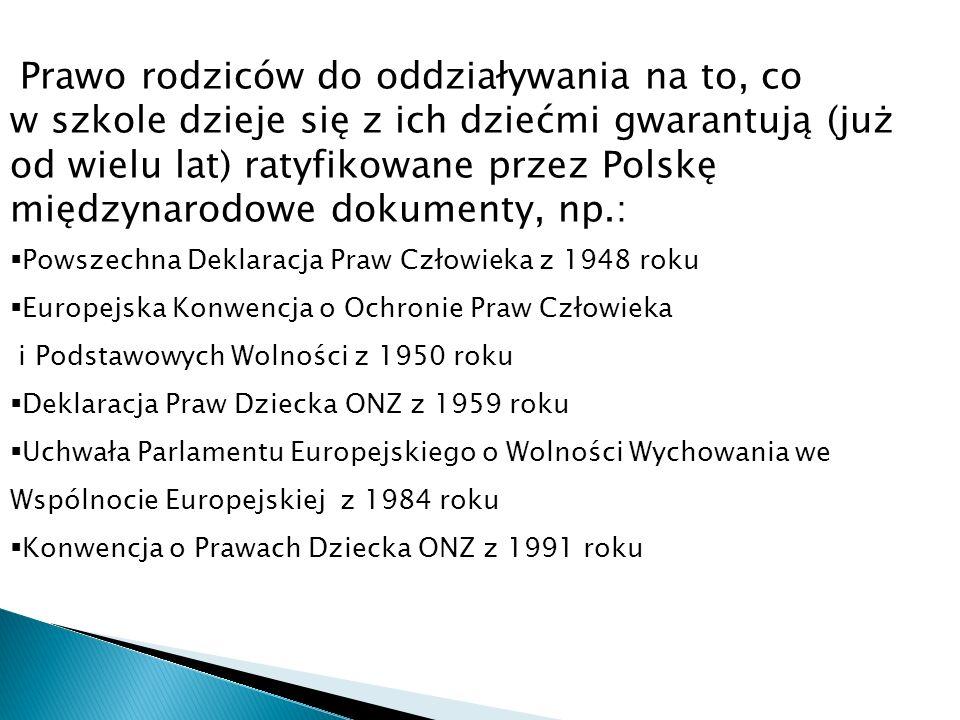 Prawo rodziców do oddziaływania na to, co w szkole dzieje się z ich dziećmi gwarantują (już od wielu lat) ratyfikowane przez Polskę międzynarodowe dok