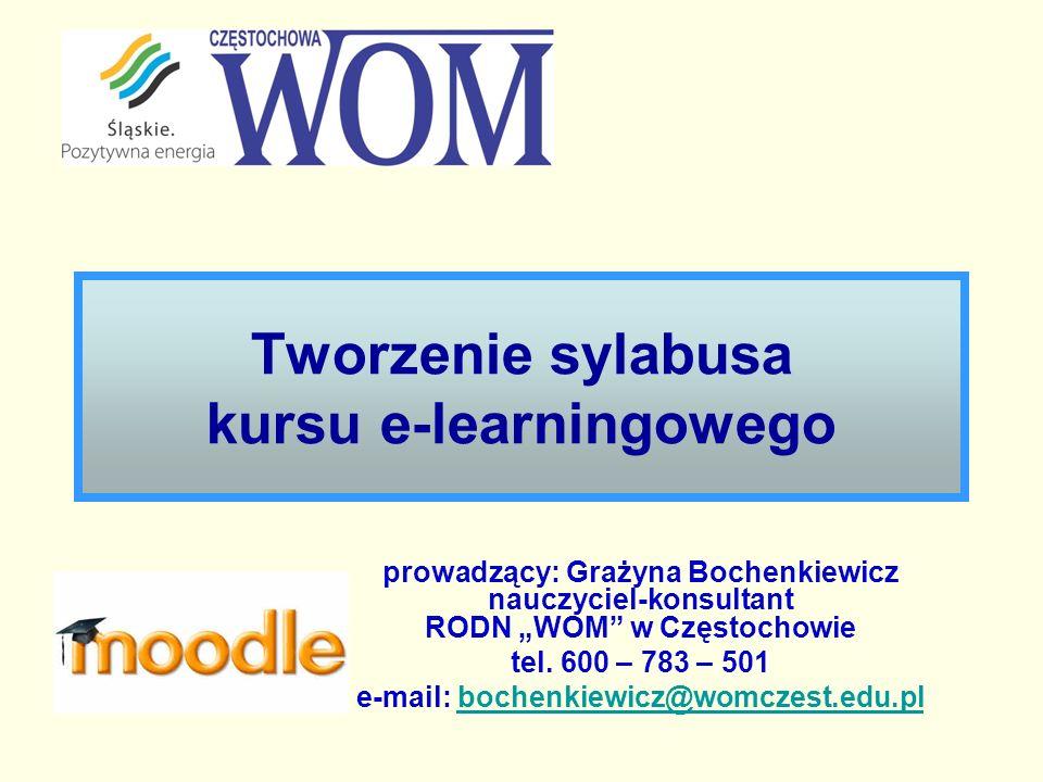 Tworzenie sylabusa kursu e-learningowego prowadzący: Grażyna Bochenkiewicz nauczyciel-konsultant RODN WOM w Częstochowie tel. 600 – 783 – 501 e-mail: