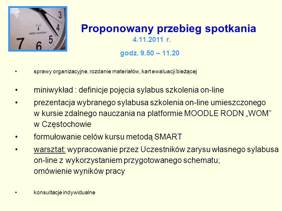 Proponowany przebieg spotkania 4.11.2011 r. godz. 9.50 – 11.20 sprawy organizacyjne, rozdanie materiałów, kart ewaluacji bieżącej miniwykład : definic
