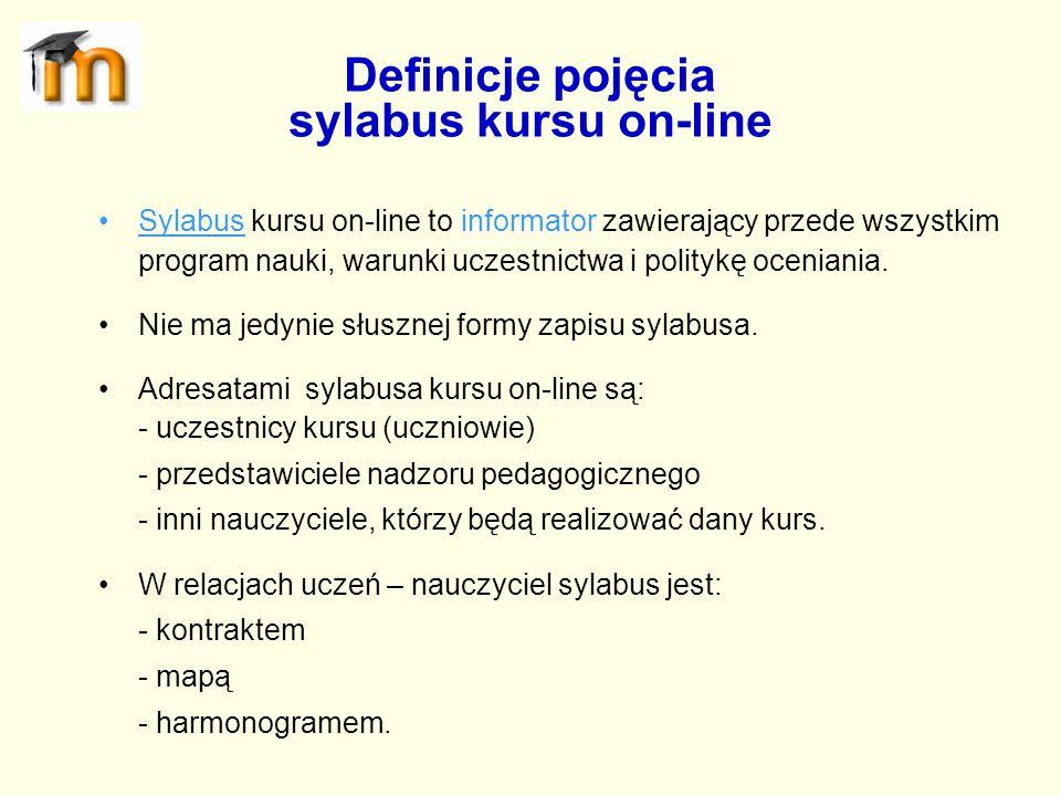 Sylabus kursu on-line to informator zawierający przede wszystkim program nauki, warunki uczestnictwa i politykę oceniania. Nie ma jedynie słusznej for