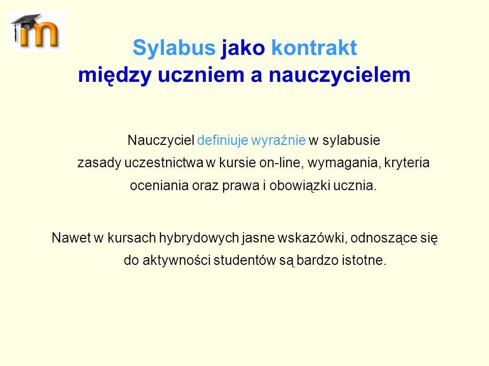 Sylabus jako kontrakt między uczniem a nauczycielem Nauczyciel definiuje wyraźnie w sylabusie zasady uczestnictwa w kursie on-line, wymagania, kryteri