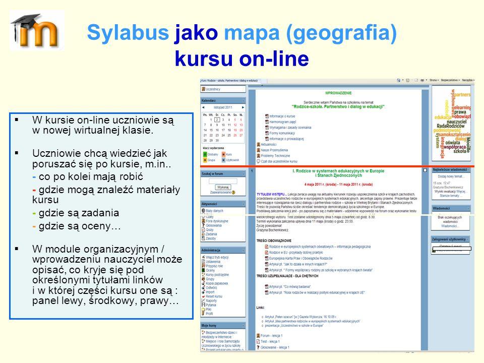 Sylabus jako mapa (geografia) kursu on-line W kursie on-line uczniowie są w nowej wirtualnej klasie. Uczniowie chcą wiedzieć jak poruszać się po kursi