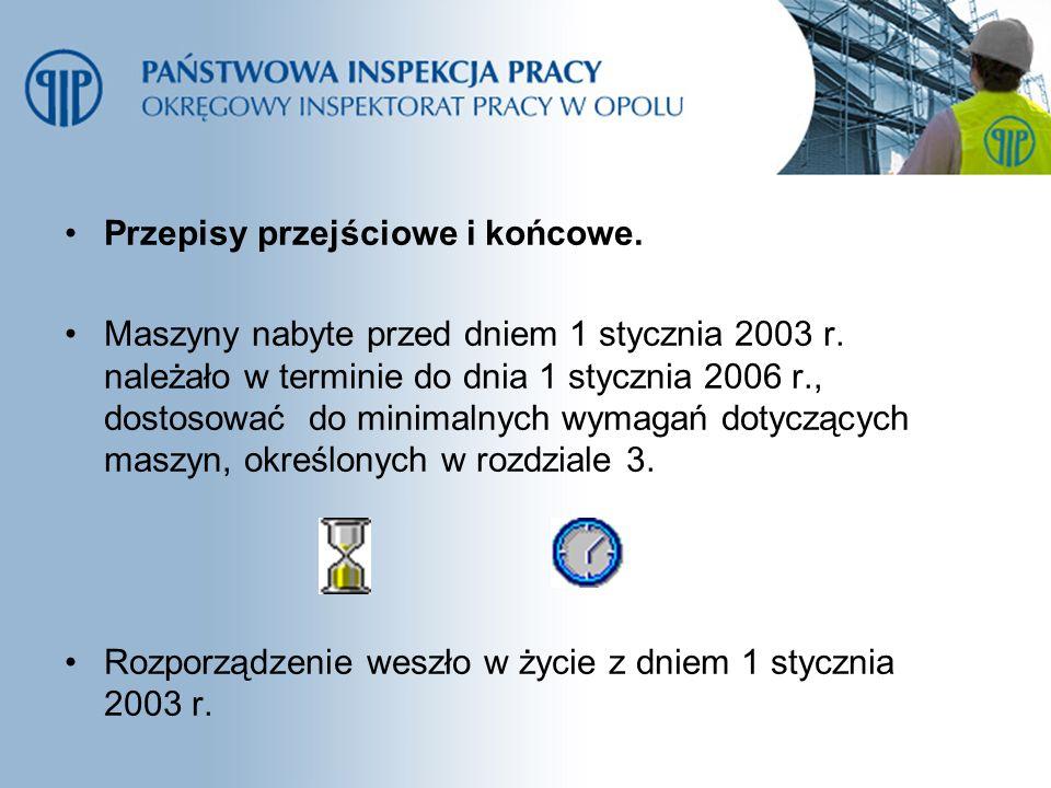 Przepisy przejściowe i końcowe. Maszyny nabyte przed dniem 1 stycznia 2003 r. należało w terminie do dnia 1 stycznia 2006 r., dostosować do minimalnyc