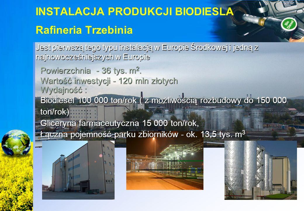 Jest pierwszą tego typu instalacją w Europie Środkowej i jedną z najnowocześniejszych w Europie INSTALACJA PRODUKCJI BIODIESLA Rafineria Trzebinia Pow