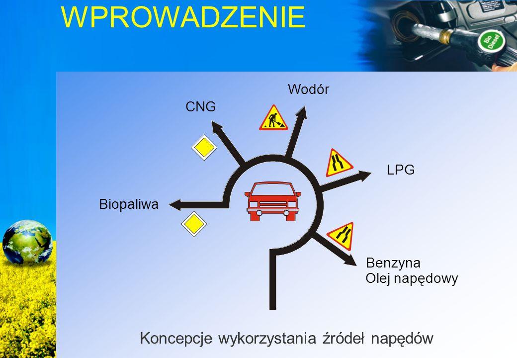 WPROWADZENIE Koncepcje wykorzystania źródeł napędów Benzyna Olej napędowy LPG CNG Biopaliwa Wodór