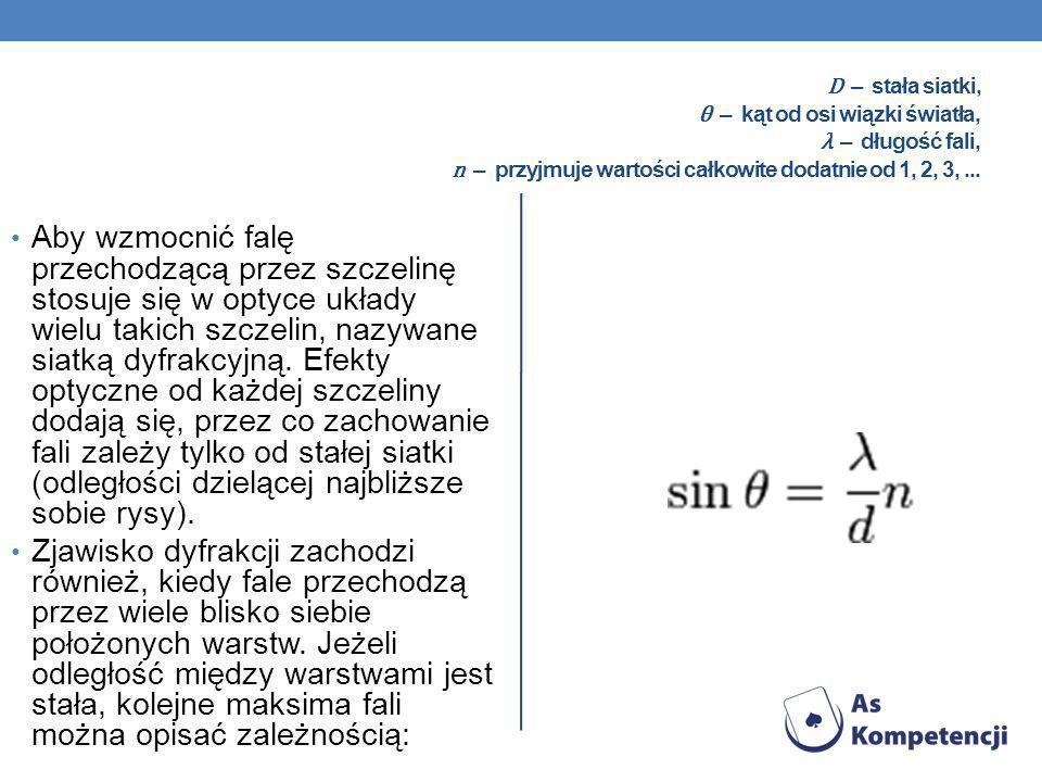 D – stała siatki, θ – kąt od osi wiązki światła, λ – długość fali, n – przyjmuje wartości całkowite dodatnie od 1, 2, 3,... Aby wzmocnić falę przechod