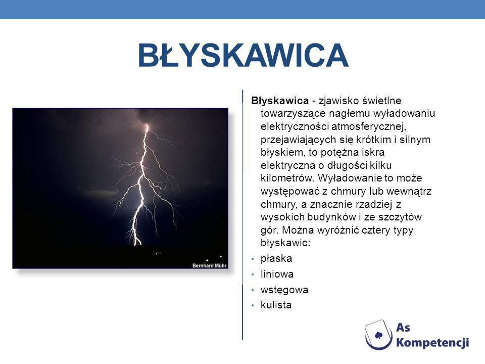 BŁYSKAWICA Błyskawica - zjawisko świetlne towarzyszące nagłemu wyładowaniu elektryczności atmosferycznej, przejawiających się krótkim i silnym błyskie