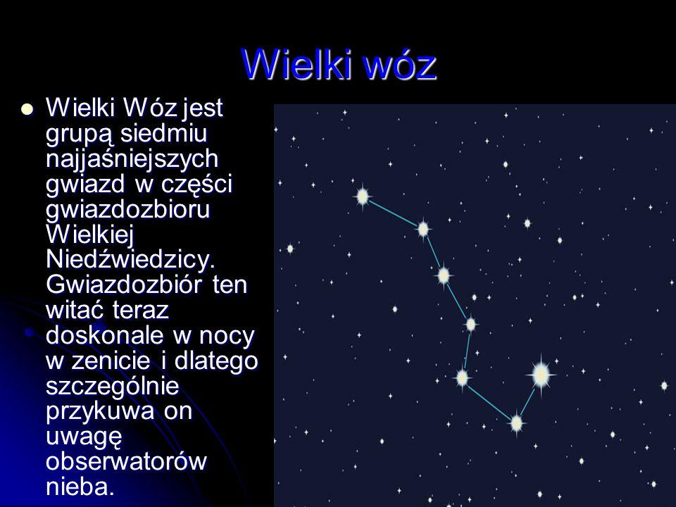 Wielki wóz Wielki Wóz jest grupą siedmiu najjaśniejszych gwiazd w części gwiazdozbioru Wielkiej Niedźwiedzicy. Gwiazdozbiór ten witać teraz doskonale