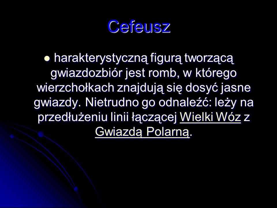Cefeusz harakterystyczną figurą tworzącą gwiazdozbiór jest romb, w którego wierzchołkach znajdują się dosyć jasne gwiazdy. Nietrudno go odnaleźć: leży